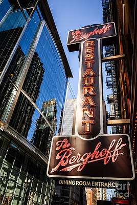 Abstract Alcohol Inks - Berghoff Restaurant Sign in Downtown Chicago by Paul Velgos