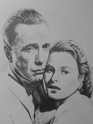 Drawing - Bergman - Bogart by Zdzislaw Dudek