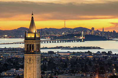 Berkeley Campanile With Bay Bridge And Art Print by Chao Photography