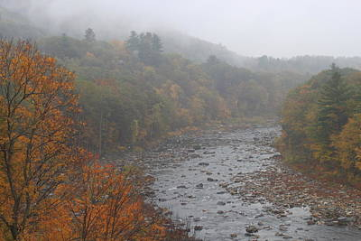 Shelburne Falls Photograph - Berkshires Mohawk Trail Deerfield River Autumn Fog by John Burk