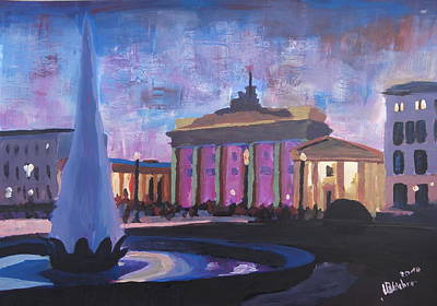 Berlin Night Painting - Berlin Brandenburger Tor by M Bleichner
