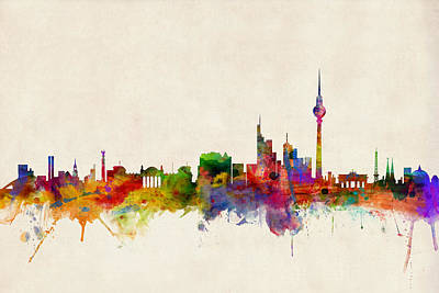 City Skyline Digital Art - Berlin City Skyline by Michael Tompsett