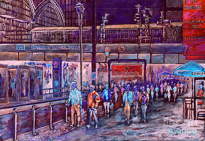 Berlin Night Painting - Berlin Frederic Street Station II by Alfred Motzer