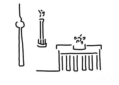 Berlin Drawing - Berlin Gate Tower by Lineamentum