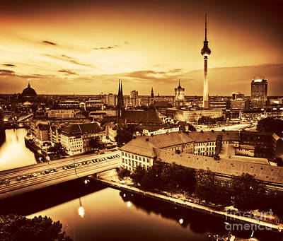 Photograph - Berlin Germany Major Landmarks At Sunset In Gold Tone by Michal Bednarek