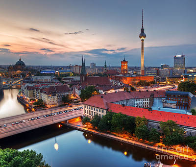 Photograph - Berlin Germany Major Landmarks At Sunset by Michal Bednarek