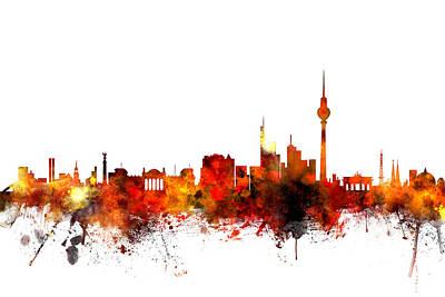 Berlin Digital Art - Berlin Germany Skyline by Michael Tompsett