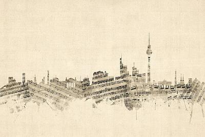 Berlin Germany Skyline Sheet Music Cityscape Art Print