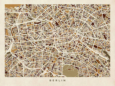 Street Digital Art - Berlin Germany Street Map by Michael Tompsett