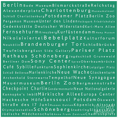 Berlin In Words Algae Print by Sabine Jacobs