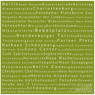 Berlin In Words Olive Print by Sabine Jacobs