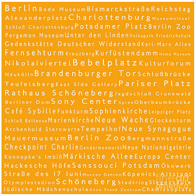 Berlin In Words Orange Print by Sabine Jacobs
