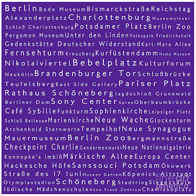 Berlin In Words Purple Print by Sabine Jacobs