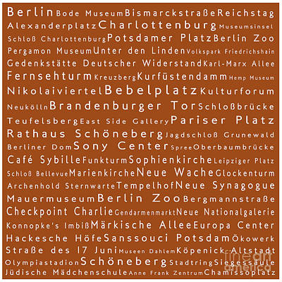 Berlin In Words Toffee Print by Sabine Jacobs