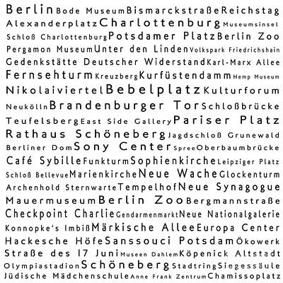 Berlin In Words White Print by Sabine Jacobs
