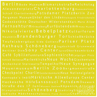Berlin In Words Yellow Print by Sabine Jacobs
