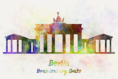 Berlin Landmark Brandenburg Gate In Watercolor Art Print by Pablo Romero