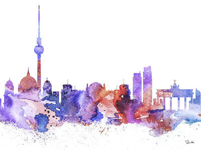 Berlin Drawing - Berlin  by Watercolor Girl