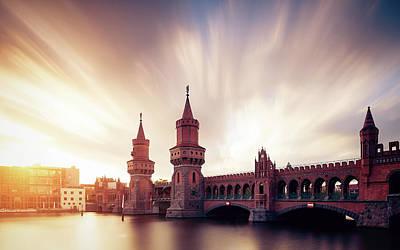 Berlin Oberbaum Bridge With Dramatic Sky Art Print by Spreephoto.de