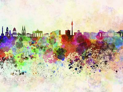 Berlin Germany Digital Art - Berlin Skyline In Watercolor Background by Pablo Romero