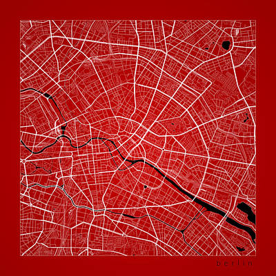 Door Locks And Handles - Berlin Street Map - Berlin Germany Road Map Art on Color by Jurq Studio