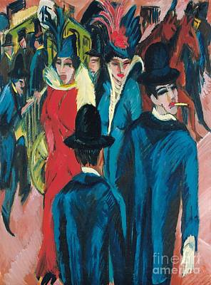 Horse And Carriage Painting - Berlin Street Scene by Ernst Ludwig Kirchner