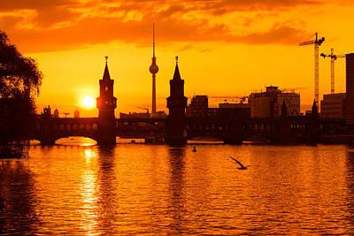 Berlin Photograph - Berlin Sunset Skyline by Alexander Voss