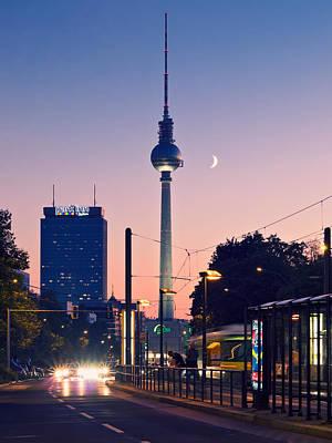 Street Photograph - Berlin Tv Tower At Sunset by Alexander Voss