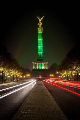 Berlin Victory Column In Green Light Art Print