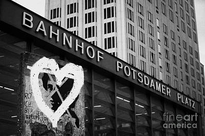 Berlin Wall Section With Heart Grafitti Outside Potsdamer Platz Train Station Berlin Germany Art Print by Joe Fox