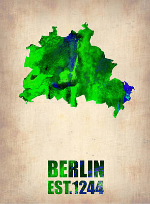 Berlin Digital Art - Berlin Watercolor Map by Naxart Studio
