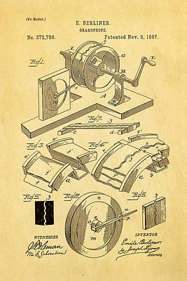 1887 Photograph - Berliner Gramophone Patent Art 1887 by Ian Monk