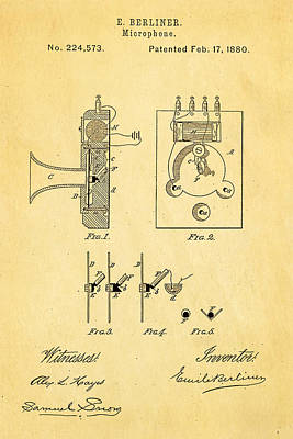 Berliner Microphone Patent Art 1880 Print by Ian Monk