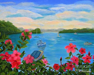 Bermuda Hibiscus - Bermuda Seascape With Boats And Hibiscus Art Print