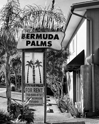 For Rent Photograph - Bermuda Palms Bw Palm Springs by William Dey