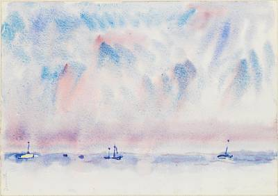 Bermuda Sky And Sea With Boats Art Print by Charles Demuth