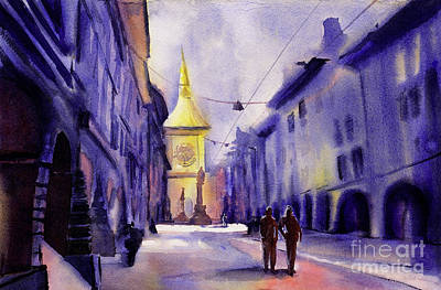 American Watercolor Society Painting - Bern Sunrise by Ryan Fox