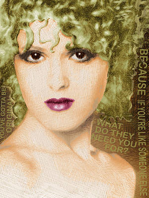 Bernadette Peters Gold And Quote Original by Tony Rubino
