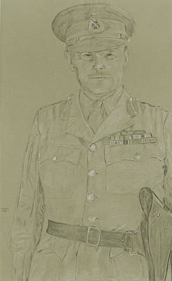 Ww Ii Drawing - Bernard Freyberg by Dennis Larson