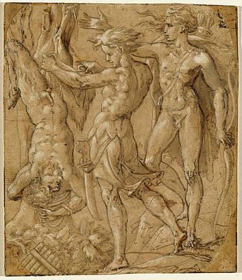 Wash Drawing - Bernardino Campi, Italian 1522-1595, The Flaying Of Marsyas by Litz Collection