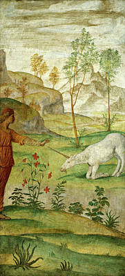 Unicorn Drawing - Bernardino Luini, Procris And The Unicorn by Litz Collection