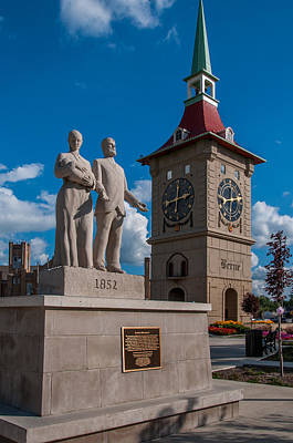 Photograph - Berne Indiana Clock Tower by Gene Sherrill
