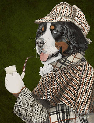 Bernese Mountain Dog Painting - Berner Of The Baskerville by Liane Weyers