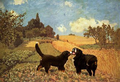 Dog In Landscape Digital Art - Berners In Cornfield by Jaime De Haas