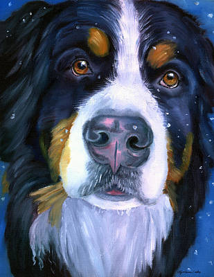 Snowfall Painting - Bernese Mountain Dog In Snowfall by Lyn Cook