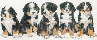 Puppies Mixed Media - Bernese Mountain Dog Puppies by Barbara Keith