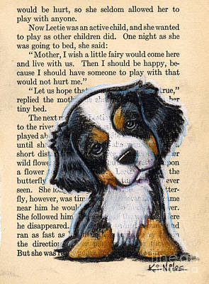 Puppy Mixed Media - Bernese Mountain Dog Puppy by Kim Niles