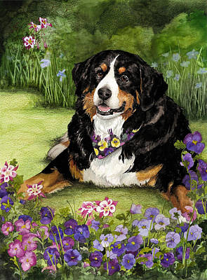 Painting - Bernese Mountain Dog by Terry Albert