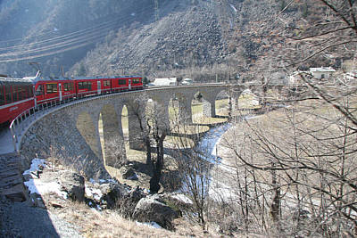 Travel Pics Royalty Free Images - Bernina Express in Winter Royalty-Free Image by Travel Pics