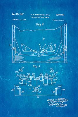 Berninger Reprojecting Ball Bumper 2 Patent Art 1967 Blueprint Art Print by Ian Monk